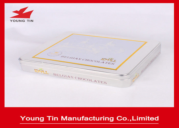 Chocolate Packaging Rectangular Tin Boxes 0.23 MM CMYK Offset Printing