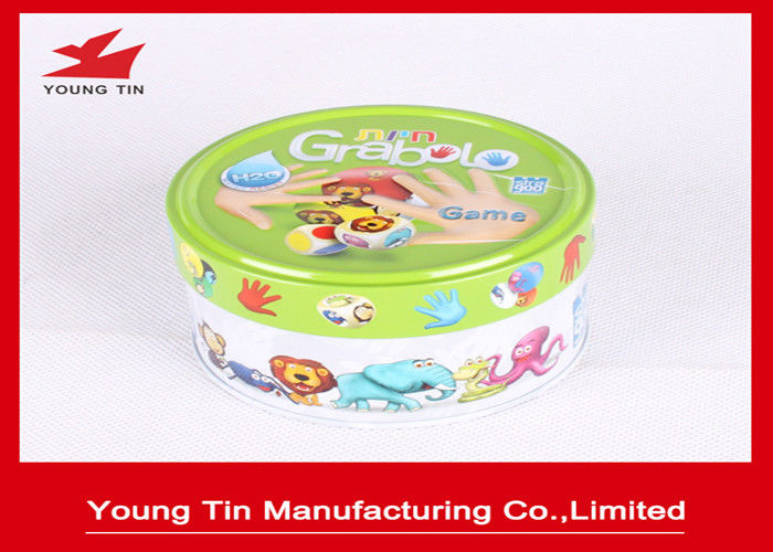 Small Round Logo Embossed Tin Boxes For Children Cards Games Toy Packaging