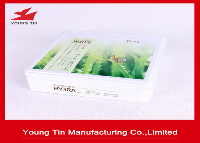 Whitening Facial Mask Metal Cosmetic Tins With Hinged Lid Cover 170 x 165 x 45 MM